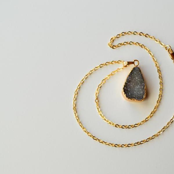 Natural Black Druzy Pendant 14K Gold Plated Necklace